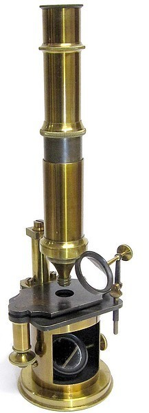 French Drum Microscope with stage fine focus (earlier Nachet type). Imported and sold by Benjamin Pike Jr., New York, c. 1849