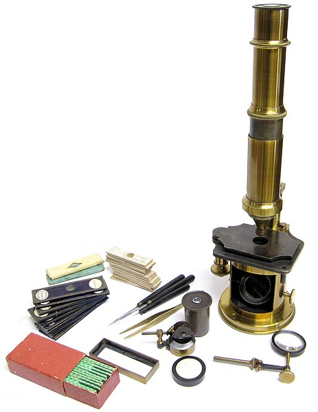 teFrench Drum Microscope with stage fine focus (earlier Nachet type). Imported and sold by Benjamin Pike Jr., New York, c. 1849xt