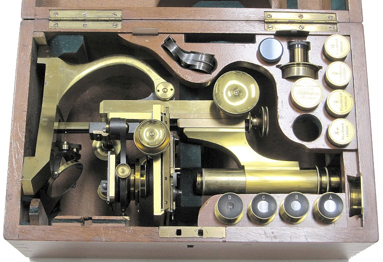 "Pillischer, London # 5692. ""The Kosmos"" model microscope, c.1895. In storage case with accessories."
