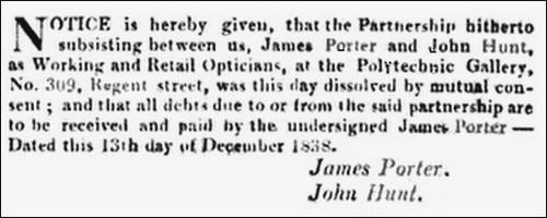 Porter & Hunt notice