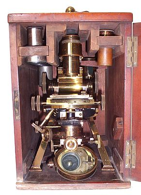 Powell & Lealand, Elmsdale, Greenham Road, Muswell Hill N.. Late of 170 Eustan Road N. W. The No.1 monocular microscope dated 1908