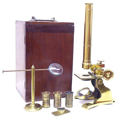 James W. Queen & Co., Philadelphia and New York. The Educational Model Microscope, c. 1870. with case and accessories