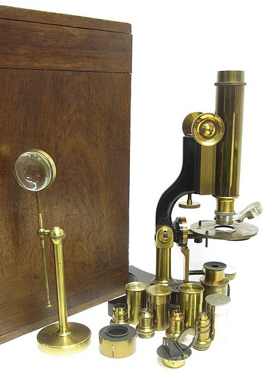 James W. Queen & Co., Phila., # 1476. The Acme No. 4 Model Microscope. Accessories
