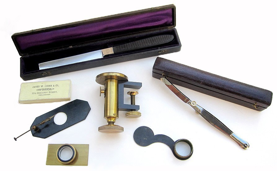 A set of microscope specimen preparation and display tools. Sold by James W. Queen & Co., Philadelphia, c.1885