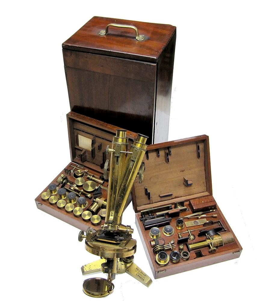 R.& J. Beck, 31 Cornhill, London, #5703. The Large Best model binocular microscope, c.1871