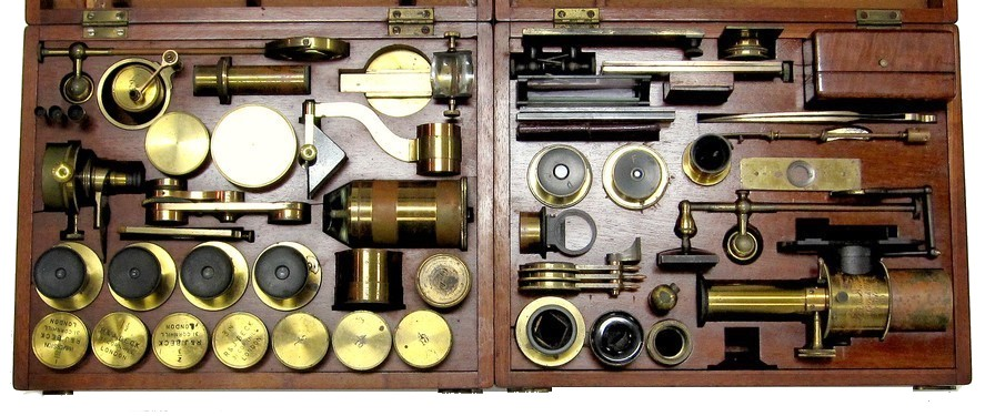 R.�& J. Beck, 31 Cornhill, London, #5703. The Large Best No. 1 model binocular microscope. c.1871. Two cases of accessories