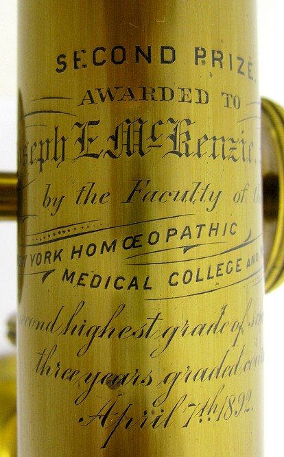 L. Schrauer, Maker, N. Y., Second Prize Microscope Awarded to Joseph E. McKenzie, M.D., 1892. Engraved tube.