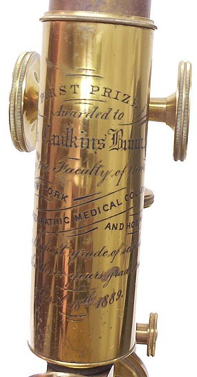 L. Schrauer, Maker, New York. Prize Microscope Awarded to Frank Caudkins Bunn, M.D., 1889. Engraved tube.