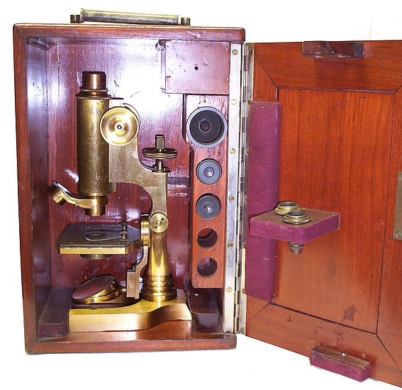 L. Schrauer, Maker, New York. Prize Microscope Awarded to Frederick Hills Cole, M.D., 1894. Microscope in the case.