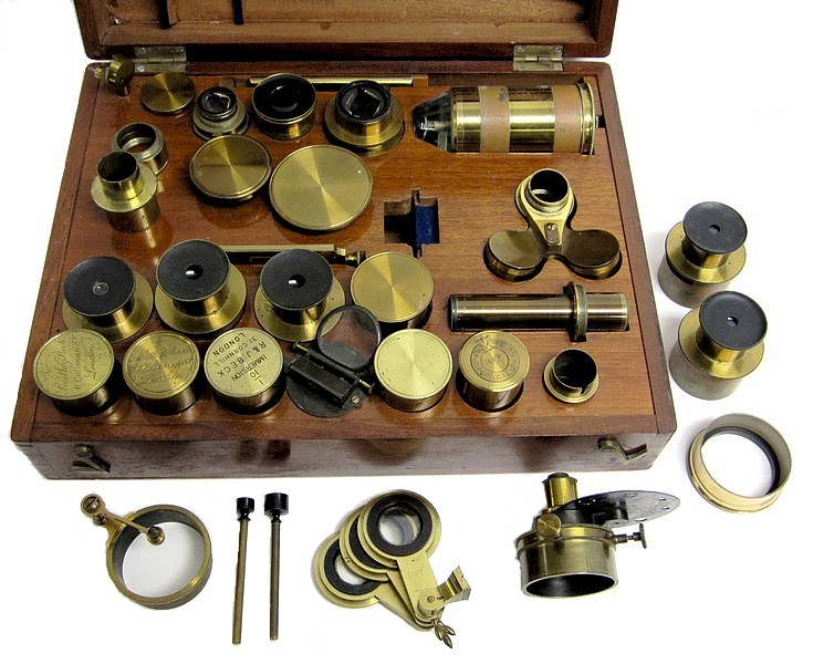 "Smith, Beck & Beck, 31 Cornhill, London, #4375. The ""Large Best"" model microscope. Accessories"