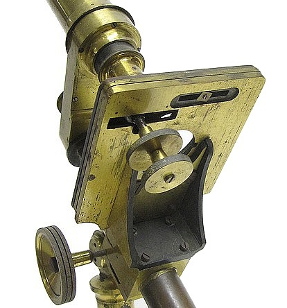 Monocular microscope made by Charles A. Spencer. Pritchard type c. 1860