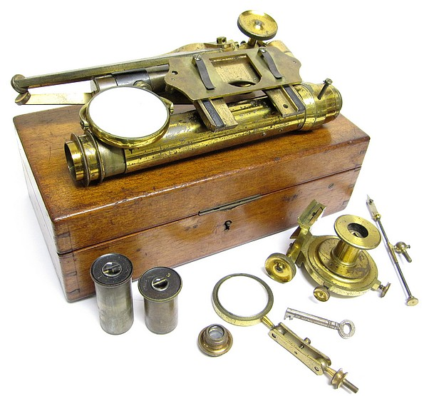 James Swift, London (attributed). Portable folding microscope with polarization. c. 1877