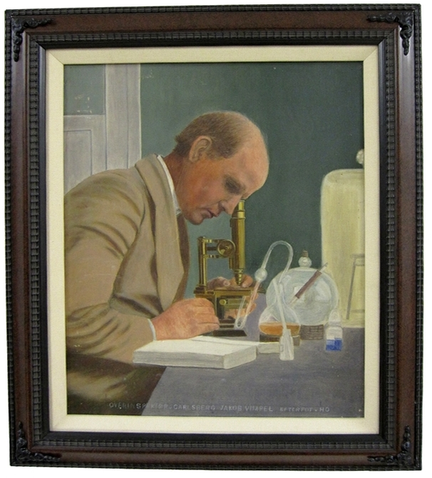 Portrait in oil of Jakob Vimpel in his laboratory at the Carlsberg Breweries. Danish, first quarter of the 20th century.