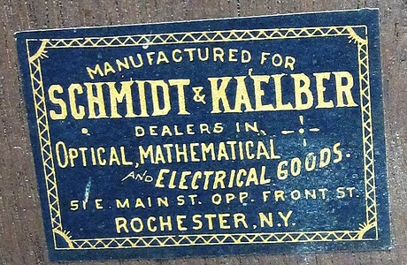 Yawman & Erbe Rochester N.Y., c. 1884. Engraved on the fine adjustment knob: Pat. Aug. 15, 1882. Storage case
