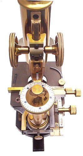 Carl Zeiss, Jena. No. 28495. The IVa continental model microscope. Showing the attachable mechanical stage