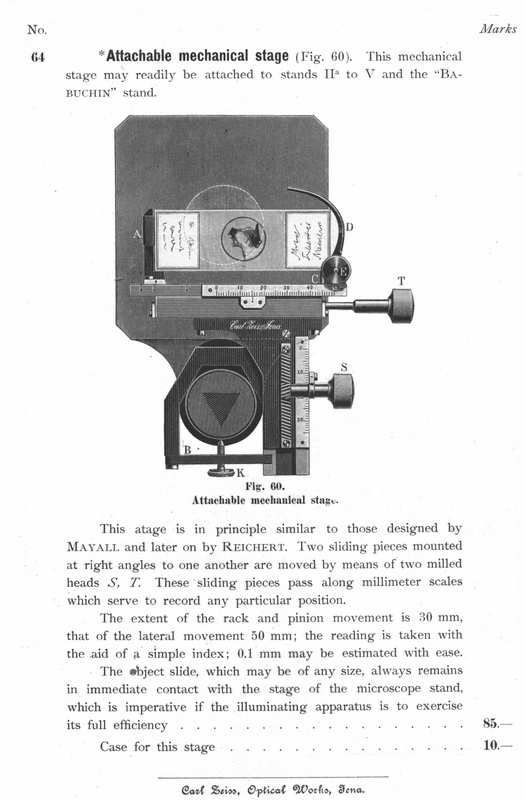 Zeiss attachable mechanical stage. c. 1897