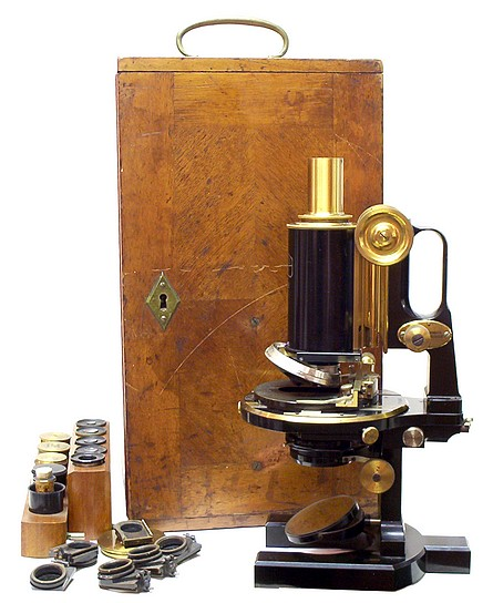 Carl Zeiss, Jena No. 47238. Jug-handle microscope with case and accessories.