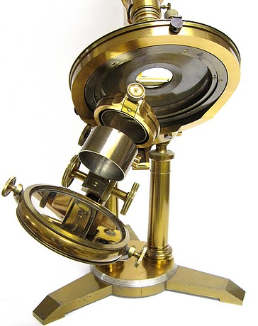 J. Zentmayer, Philadelphia, Patented 1876, No. 2504. The American Centennial binocular model microscope, c. 1885. The swinging sub-stage.