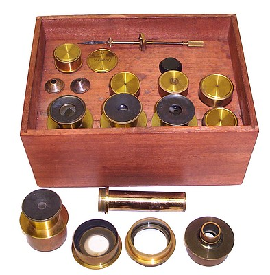J. Zentmayer, Philadelphia, No. 1867, United States Army Hospital Monocular Microscope accessories