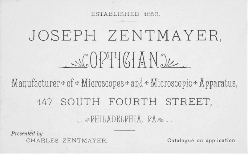 Joseph Zentmayer trade card 147 South Fourth Street Philadelphia
