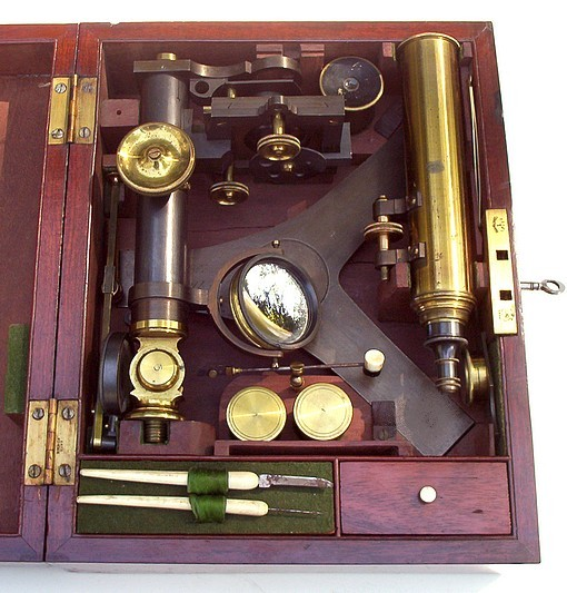 Microscope in case: Abraham, Liverpool c. 1840