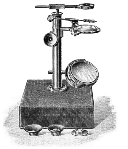 Ellis aquatic microscope with rack and pinion focusing