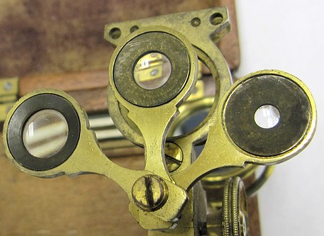 Folding botanical microscope, c.1830. Lenses