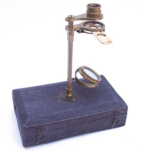 English Botanical Microscope mounted on a Sharkskin Case