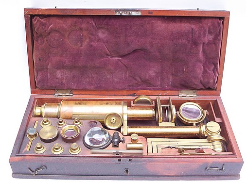 Carpenter type Improved Microscope. New Improved Compound Microscope for Opake and Transparent Objects, c. 1830