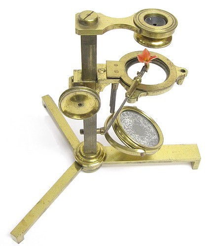 Compound and Simple Microscope on a Folding Tripod Base. English, unsigned. c.1815
