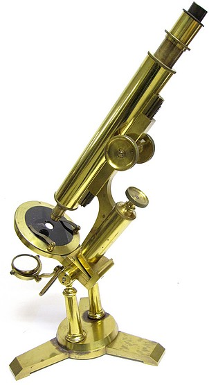 Unsigned Large Monocular Microscope on a Double Pillar. Likely American-made c. 1880