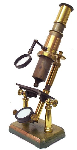 Double pillar French microscope. Probably made by Radiguet & Fils, Paris