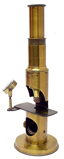 >French Drum Microscope, c. 1865. Trade Label of James Foster Jr., Mathematical & Philosophical Instrument Maker, Cincinnati