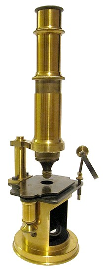 French Drum Microscope with stage fine focus, c. 1850