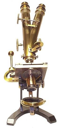 J. & W. Grunow, New York #499. Binocular microscope with Varley Stage, c. 1870