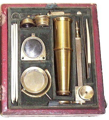 New Improved Pocket Compound Microscope, c. 1830. Cary-Gould type microscope