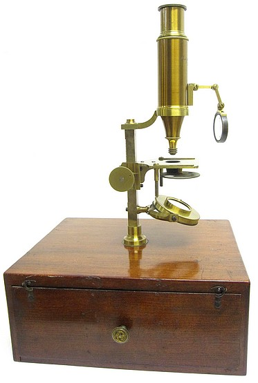 Made for McAllister & Co., Philadelphia. Imported larger case-mounted French microscope, c.1844.  Attributed to the Parisian optician Buron