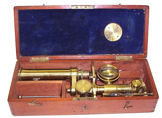 W. Matthews Camden Rd., London. Case-mounted portable microscope c. 1858 . Stored in the case.