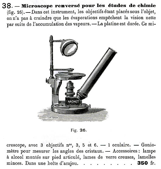 Nachet Inverted Chemical microscope from the 1886 catalog