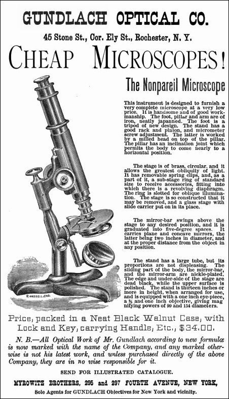 Two versions of the Nonpareil model microscope. Signed by Ernst Gundlach and Yawman & Erbe, c. 1884