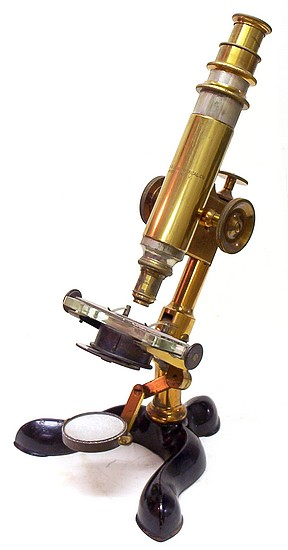 Bausch & Lomb Optical Co., Rochester NY, Pat. Oct. 3, 1876. Serial No. 1078. The Physicians model microscope, c. 1879