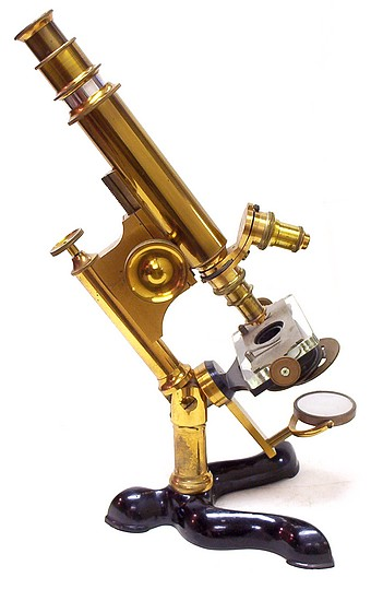 Bausch & Lomb Optical Co., Pat. Oct. 3, 1876. Serial No. 2188. The Physicians model microscope, c. 1883