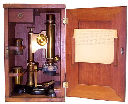 Bausch & Lomb Optical Co., Pat. Oct. 3, 1876. Serial No. 2188. The Physicians model microscope, c. 1883 in case