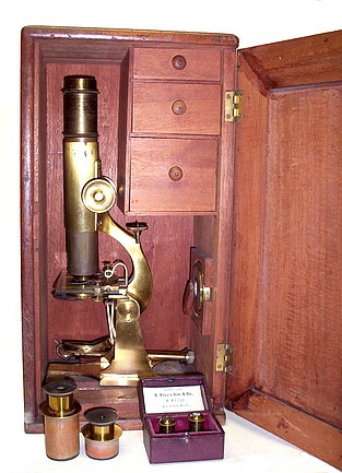 Benj. Pike's Son & Co., 930 Broadway, NY. microscope in the case
