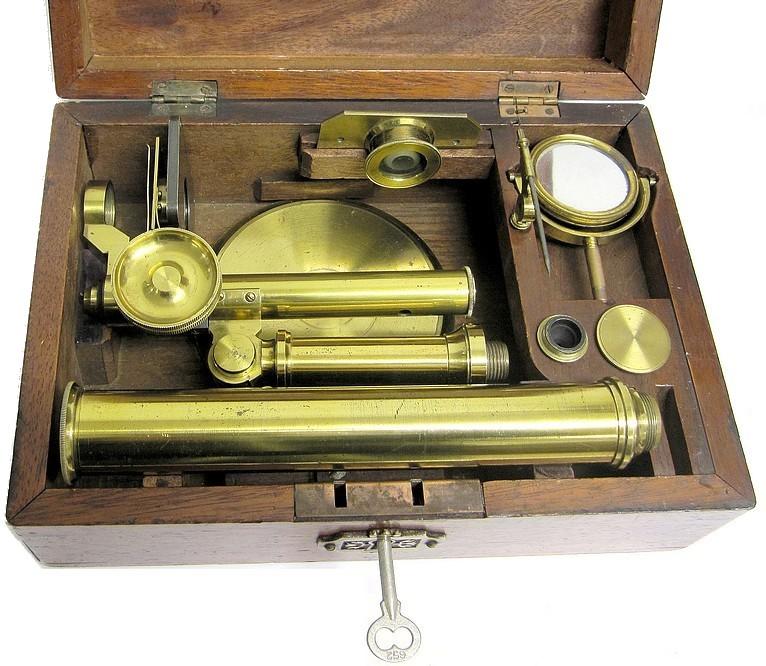 pritchard type student microscope. english, unsigned, c. 1848