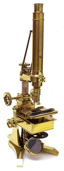 Early bar-limb microscope: signed on the base Ross, London No. 88 and on the stage Powell & Lealand, London. c. 1843