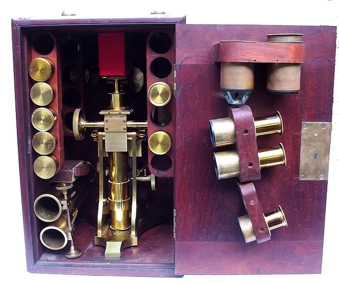 Ross binocular microscope. Back view