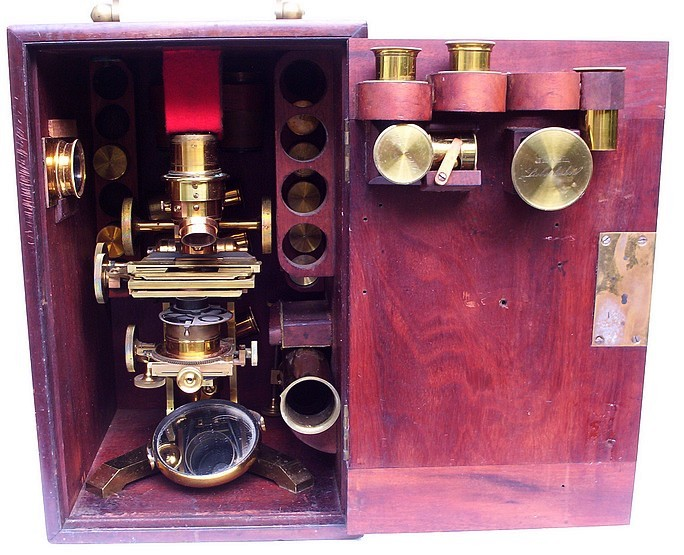 Ross binocular microscope in case. Front view