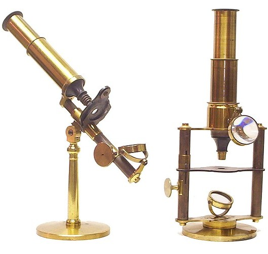 A group of French microscopes c.1860. Unsigned, but each apparently made by the same manufacturer