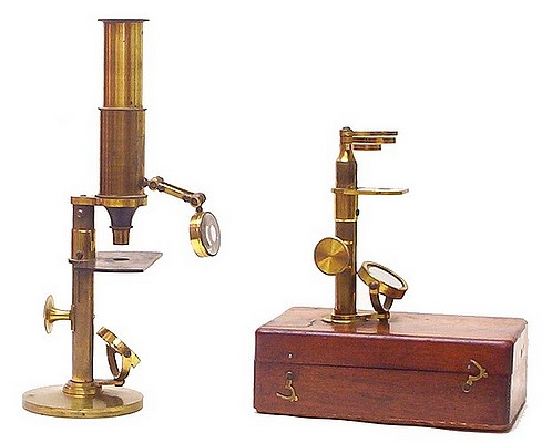 Two French microscopes c. 1860